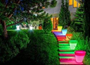 Освещение садовой лестницы