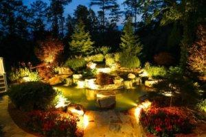 Освещения садового водоема