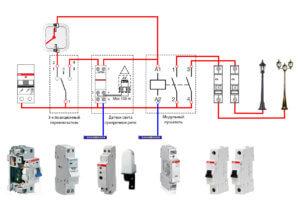 Схема подключения и управления наружным освещением при помощи фотореле
