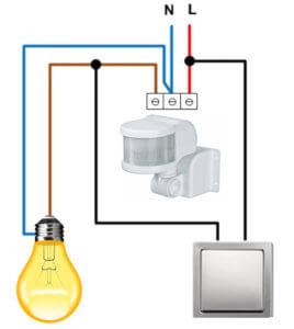 Схема подключения освещения с датчиком освещения
