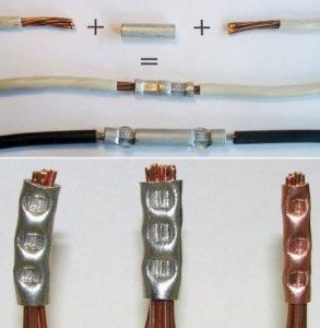 Соединения проводов опрессовкой