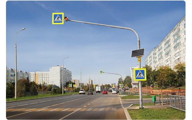 Освещение пешеходного перехода при помощи солнечной батареи