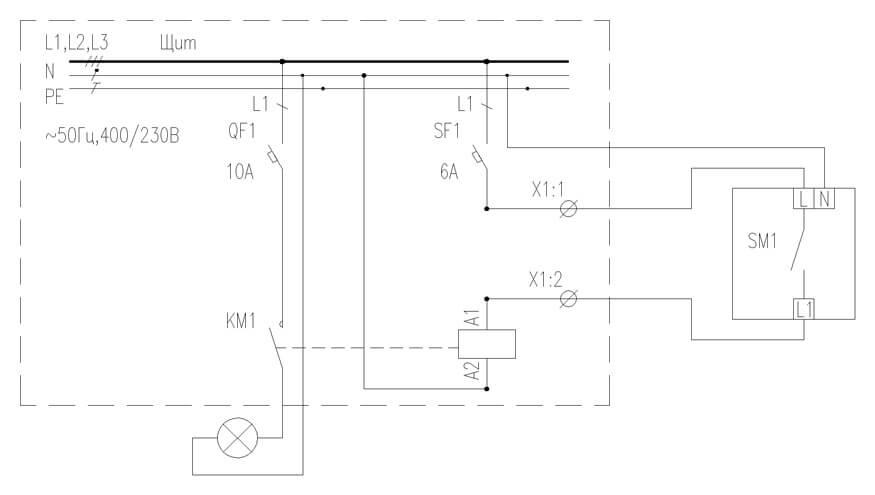 Схема управления освещением с использованием датчиков движения