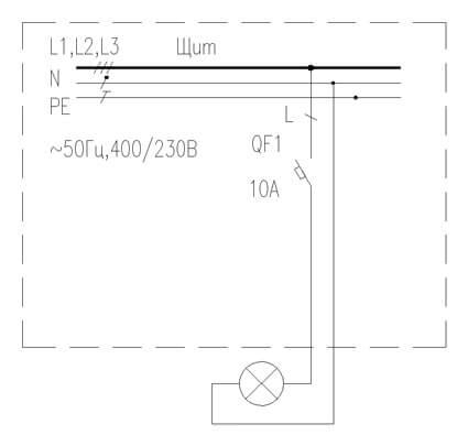 Схема управления освещением при помощи автомата