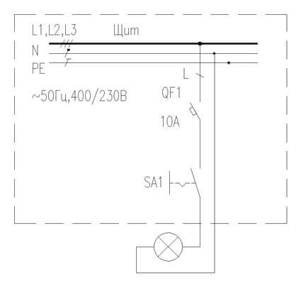 Схема управления освещением при помощи переключателя