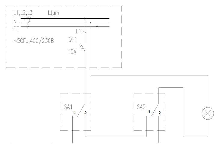 Схема управления освещением переключателями с двух мест
