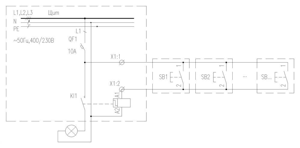 Схема управления освещением с использованием импульсного реле