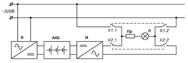 Схема питания с одним источником освещения (с инвертором)