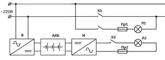Схема питания с двумя различными источниками освещения