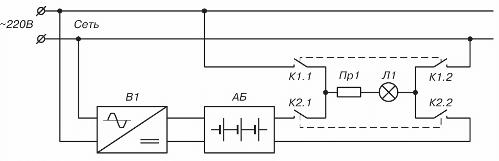 Схема питания с одним источником освещения (без инвертора)