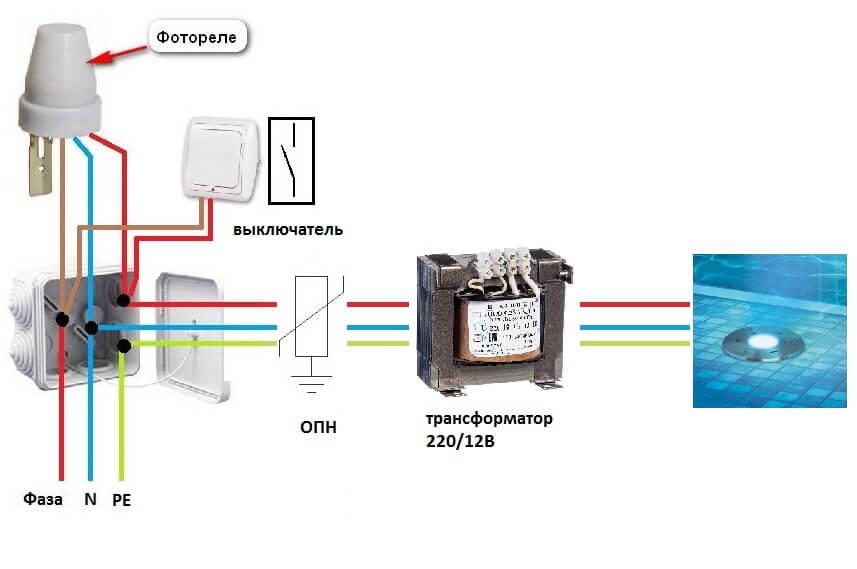Условная схема управления освещением при помощи фотореле (сумеречного реле)
